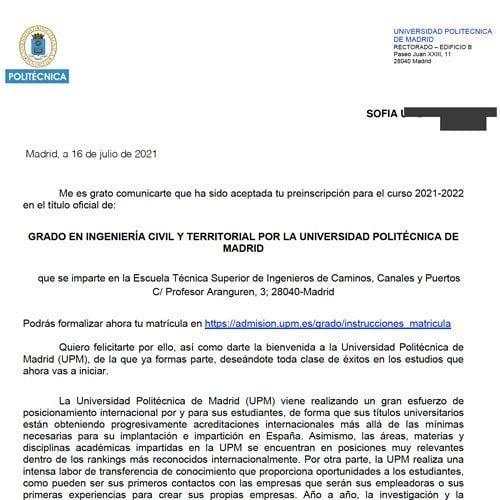 Admisión a la Universidad española